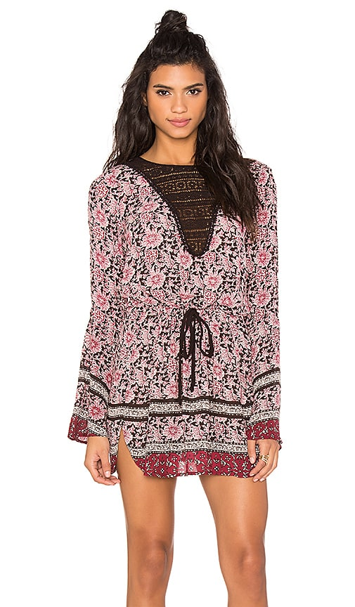 Band of Gypsies Long Sleeve Printed Mini Dress in Black & Rose