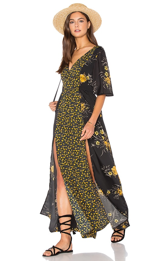 Band Of Gypsies V Neck Short Sleeve Floral Maxi Dress In Black