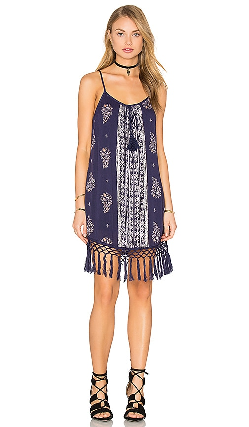 Band of Gypsies Sleeveless Scoop Neck Fringe Hem Dress in Blue