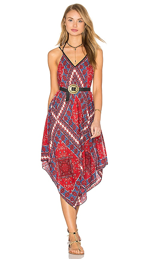 Band of Gypsies Sleeveless V Neck Dress in Red