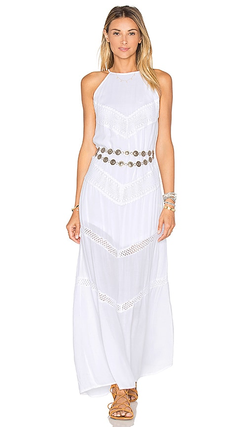 Band of Gypsies Chevron Crochet Maxi Dress in White