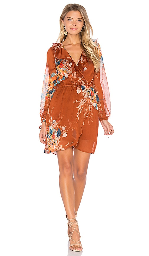 Band of Gypsies Bouqet Floral Surplice Wrap Dress in Rust
