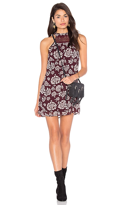 Band of Gypsies Vintage Floral Shift Dress in Burgundy
