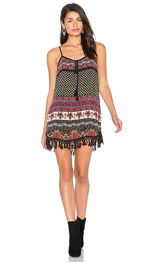 Band of Gypsies India Print Shift Dress in Black