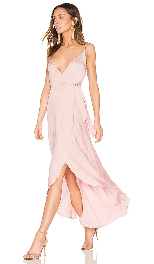 Band of Gypsies Tissue Satin Wrap Dress in Pink