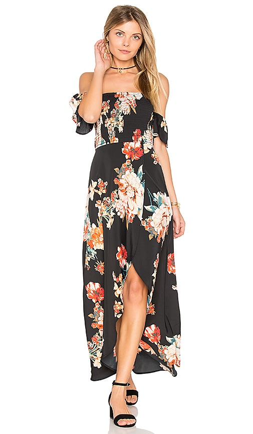 Band of Gypsies Large Floral Maxi Dress in Black