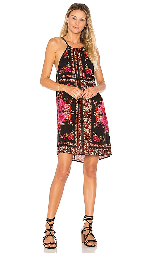 Band of Gypsies Scarf Print High Neck Dress in Orange