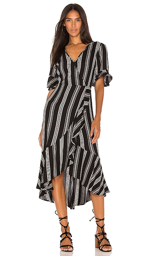 Band of Gypsies Herringbone Ruffle Wrap Dress in Black