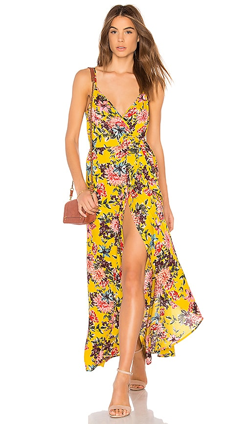 Band of Gypsies Chrysanthemum Wrap Dress in Mustard