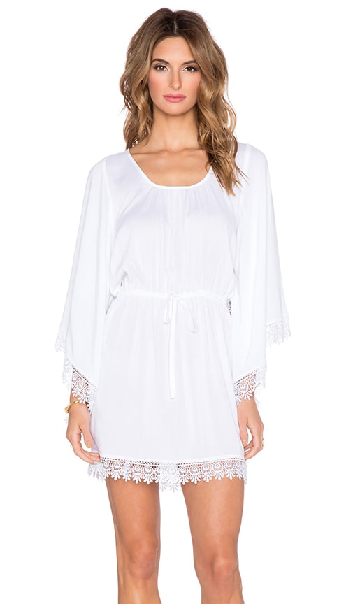 Band of Gypsies Crochet Trim Mini Dress in White