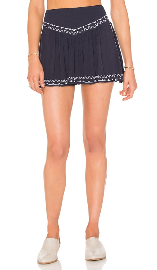 Band of Gypsies Embroidered Short in Navy & White