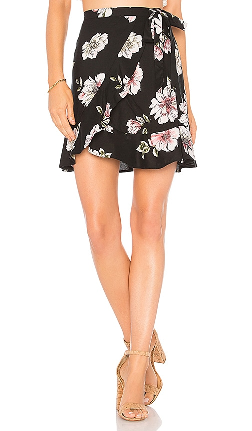 Band of Gypsies Hibiscus Mini Skirt in Black