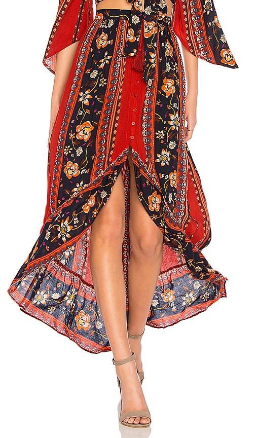 Band of Gypsies Bohemian Ruffle Skirt in Rust