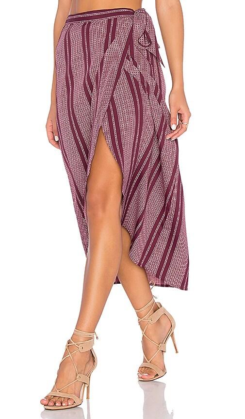 Pin Stripe High Low Midi Skirt