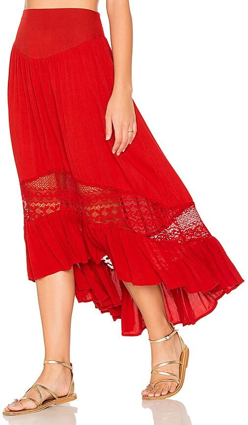 Band of Gypsies Ruffle Hem Skirt in Red
