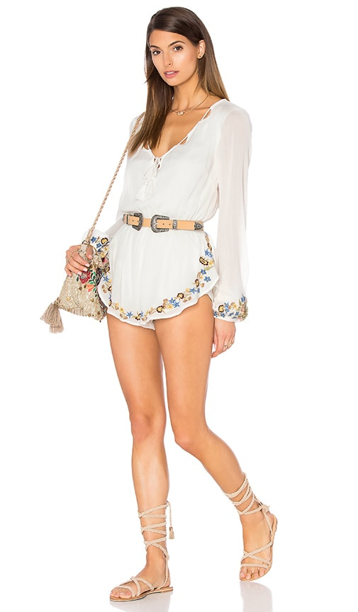 Band of Gypsies Embroidered Romper in White