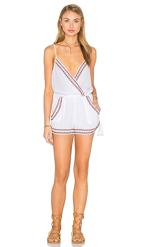 Band of Gypsies Sleeveless Side Tie Romper in White