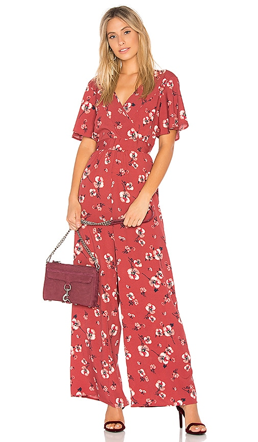 Band of Gypsies Poppy Floral Jumpsuit in Red