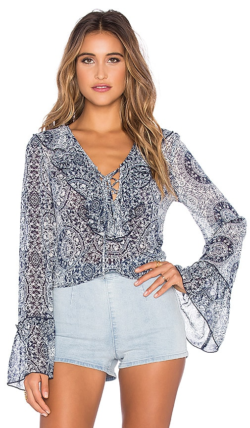 Band of Gypsies Printed Ruffle Front Blouse in Navy & Ivory