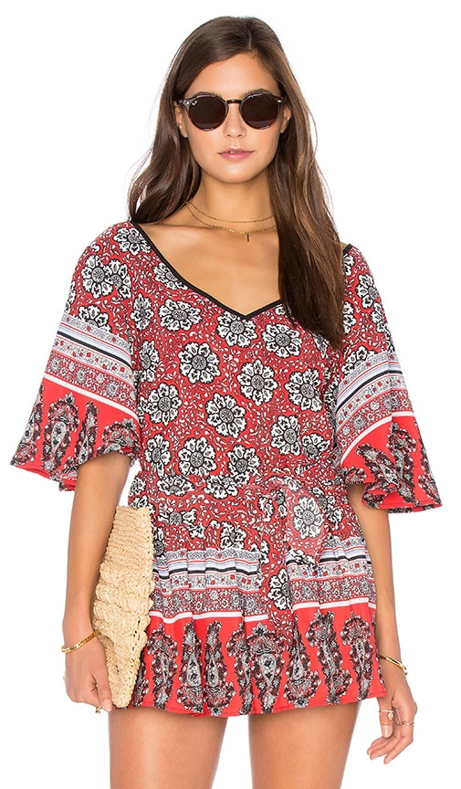 Band of Gypsies Short Sleeve V Neck Blouse in Red