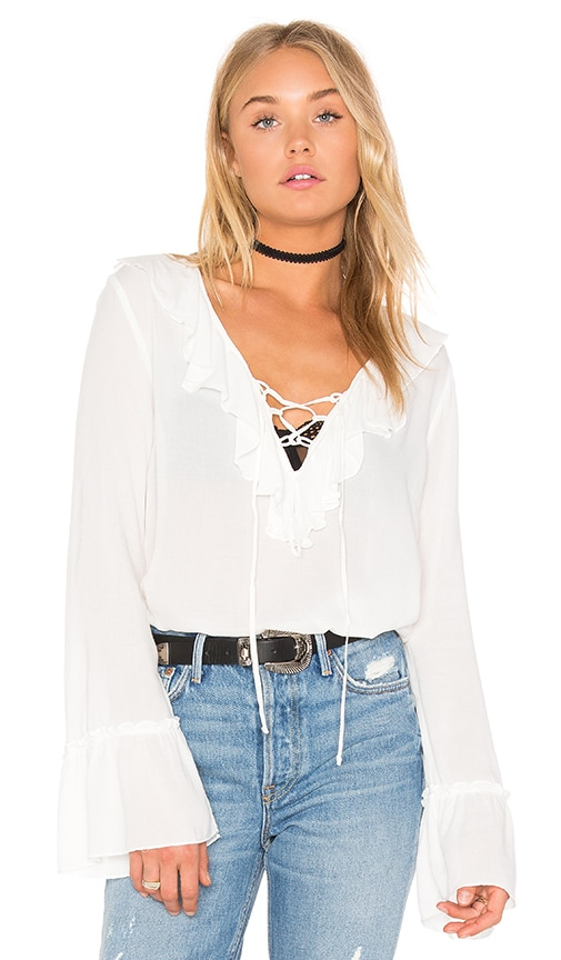 Band of Gypsies Tie Neck Blouse in Ivory