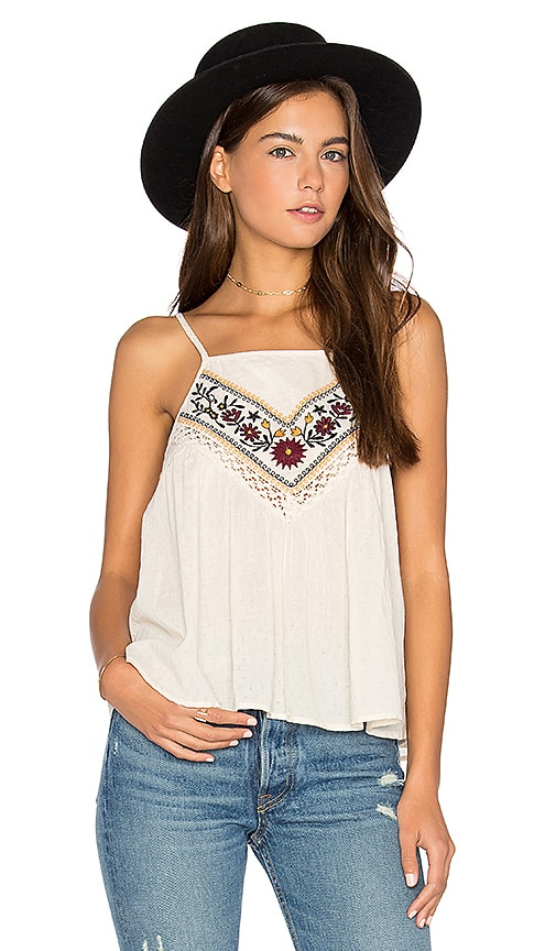 Band of Gypsies Romantic Floral Cami in Beige