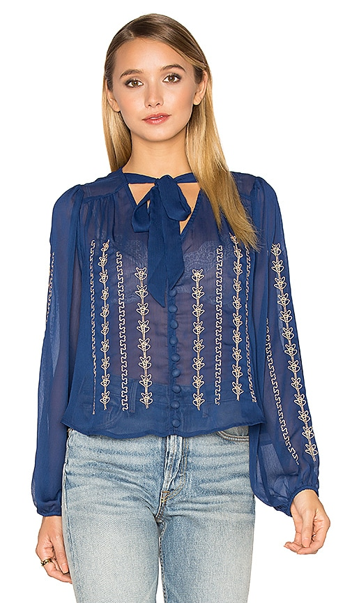 Band of Gypsies Embroidered Blouse in Royal