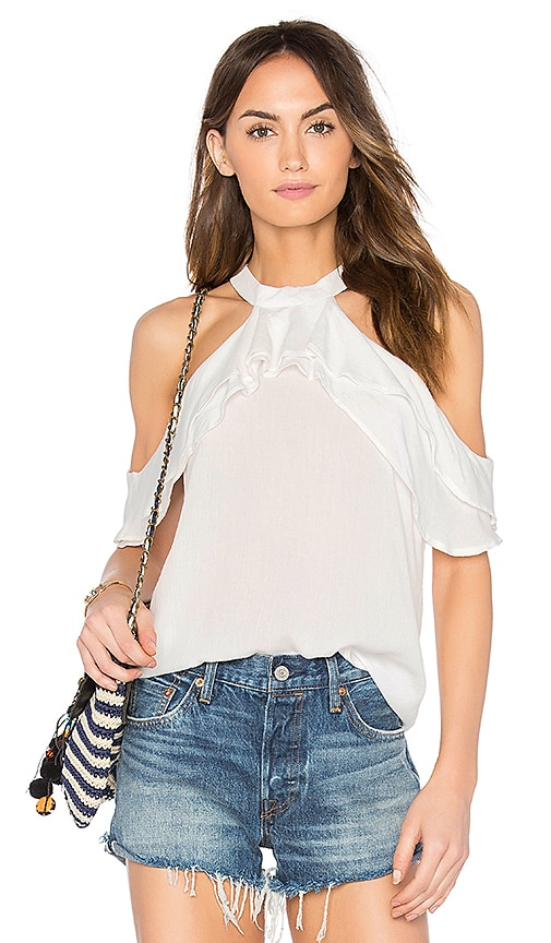 Band of Gypsies Ruffle Blouse in White