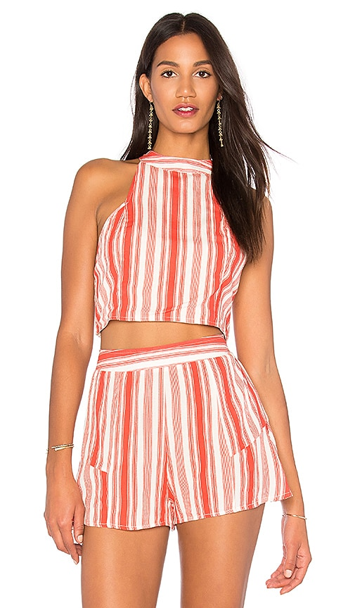 Band of Gypsies Stripe Smocked Crop Top in Coral