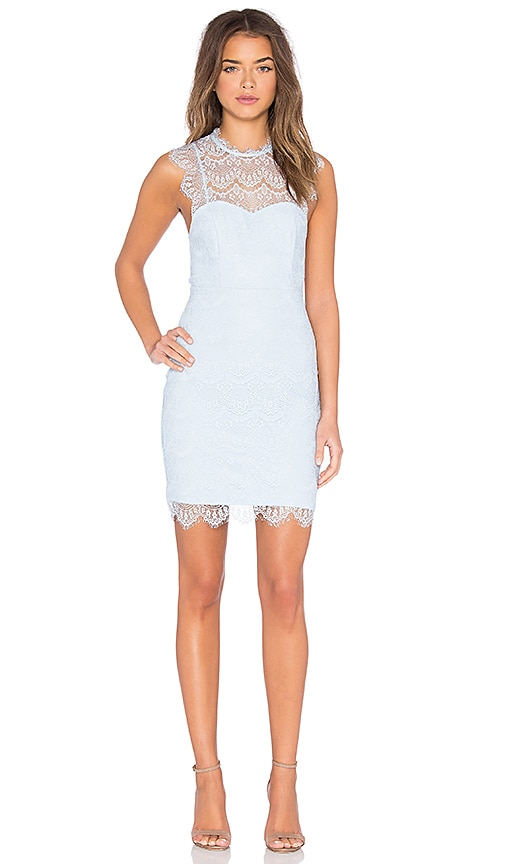 Bardot Braxton Lace Mini Dress in Baby Blue