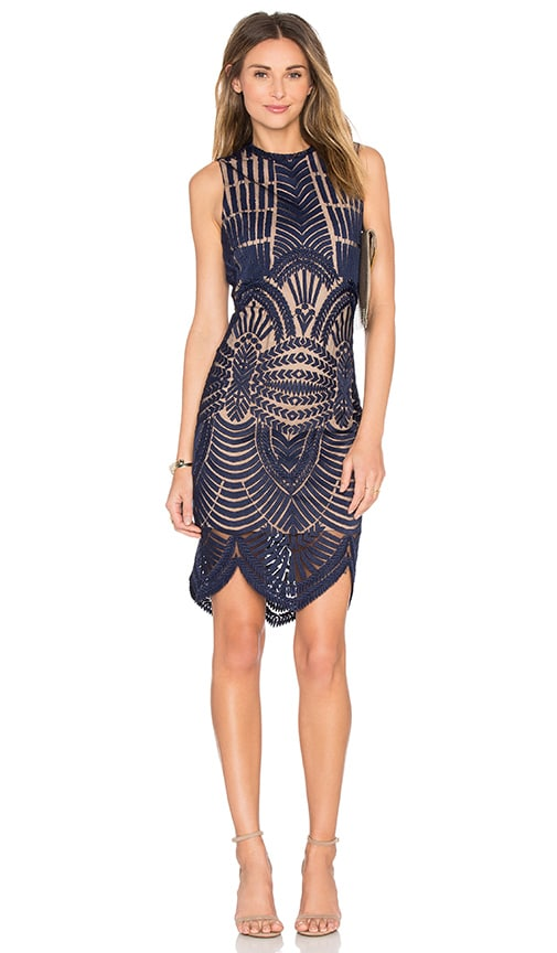Bardot Divinity Dress in Navy
