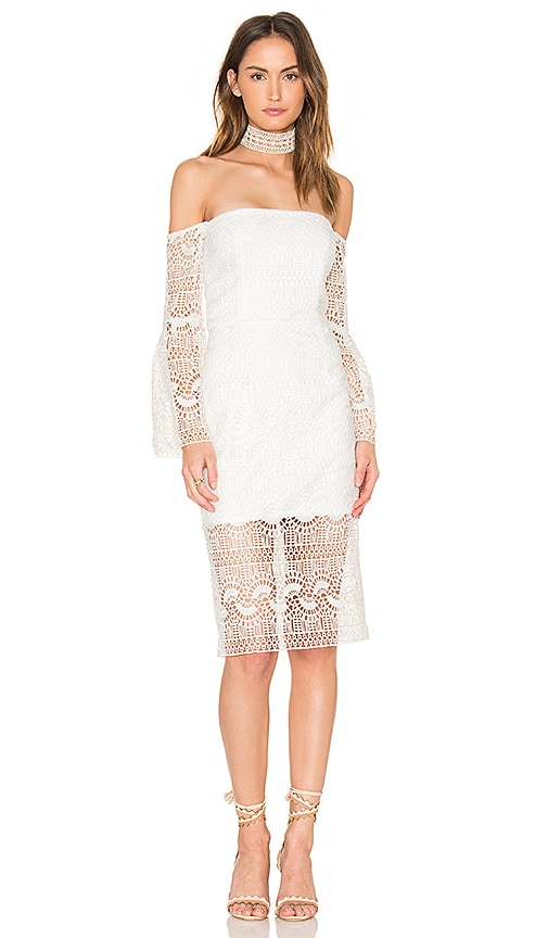Bardot Geo Lace Dress in White