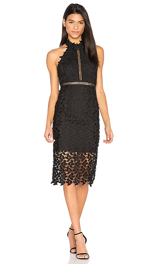 BARDOT Gemma Sleeveless Halter Lace-Guipure Cocktail Dress in Black