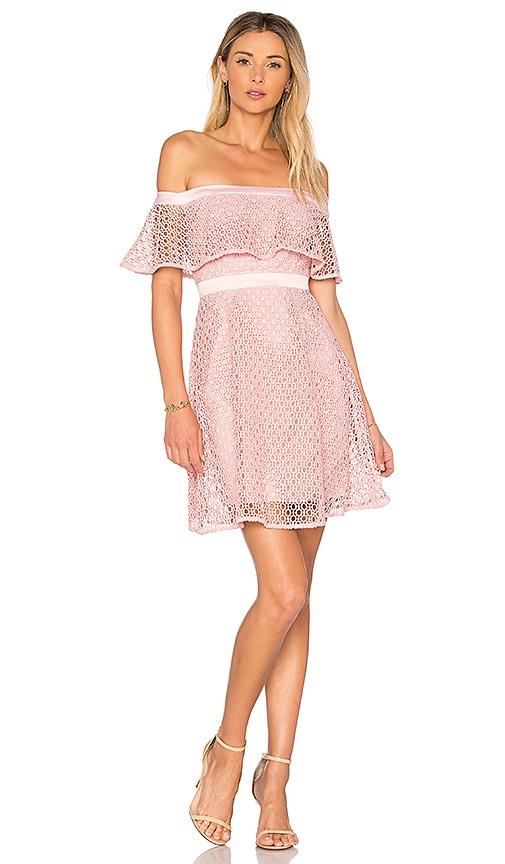 Bardot Off Shoulder Lace Dress in Pink