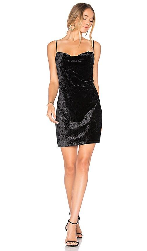 Bardot Velour Slip Dress in Black