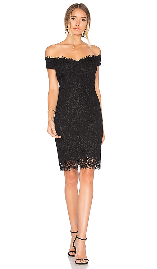 Bardot Tara Lace Off Shoulder Dress in Black