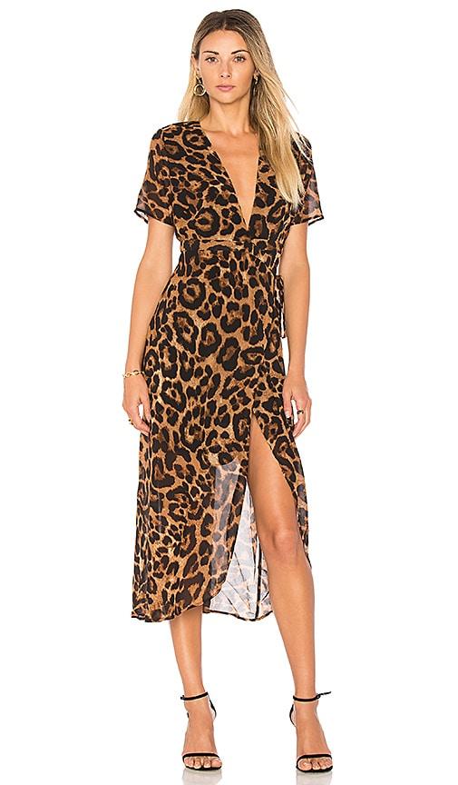 Bardot Leopard Wrap Dress in Brown