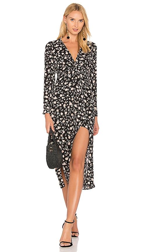Bardot Floral Split Dress in Black