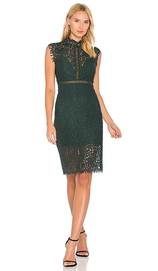 Bardot Lace Panel Dress in Green