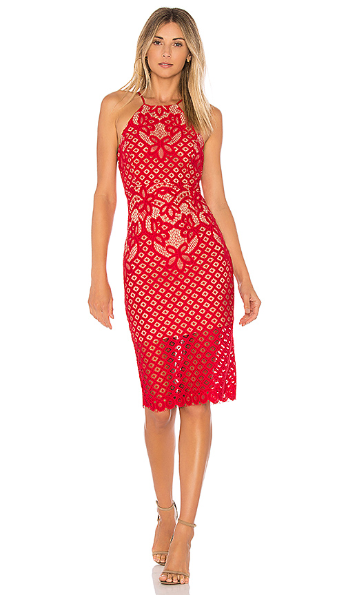 Bardot Mila Lace Dress in Red
