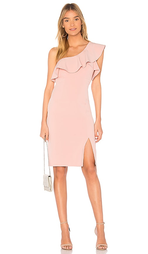 Bardot Ruffle Dress in Pink