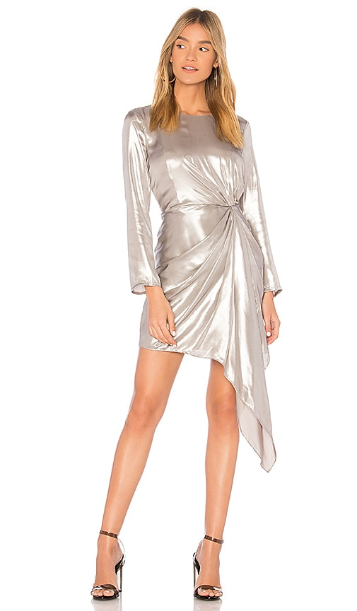Bardot Shimmer Dress in Metallic Silver