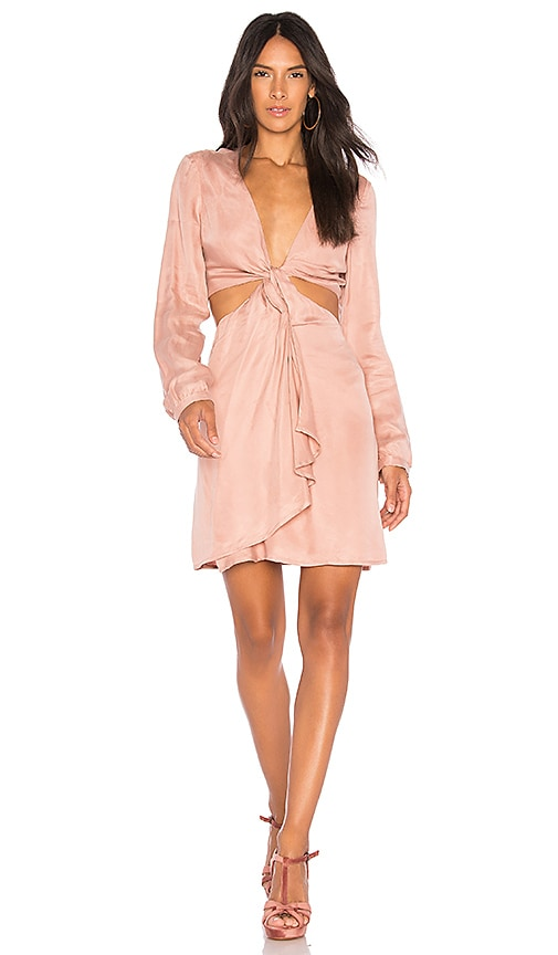 Bardot Twist Satin Dress in Rose