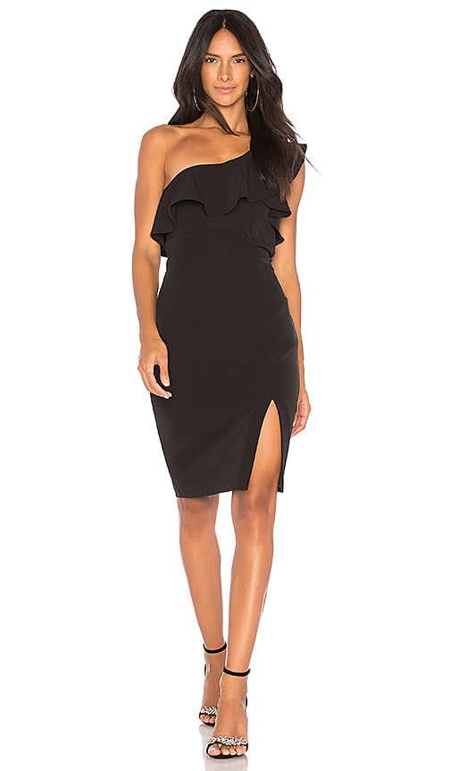 Bardot Ruffle Dress in Black