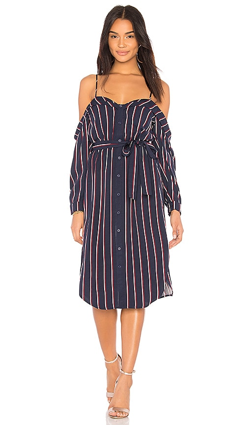 Bardot Cold Shoulder Dress in Blue