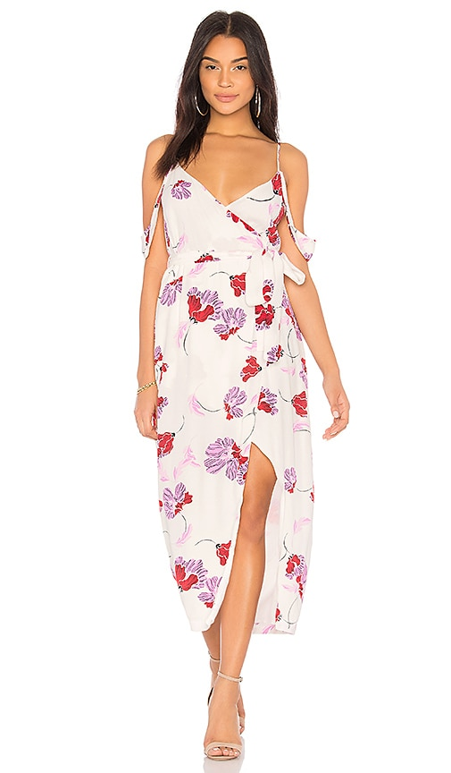Bardot Floral Wrap Dress in White