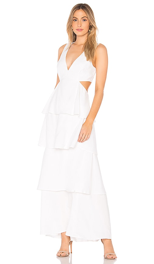 Bardot Cut Out Tier Dress in White