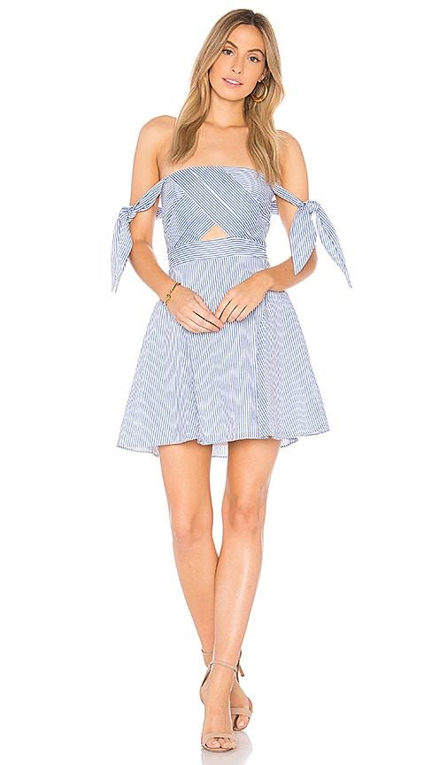 Bardot Linen Stripe Dress in Blue