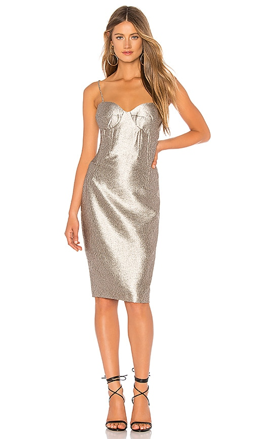 Bardot Shimmer Dress in Golden | REVOLVE
