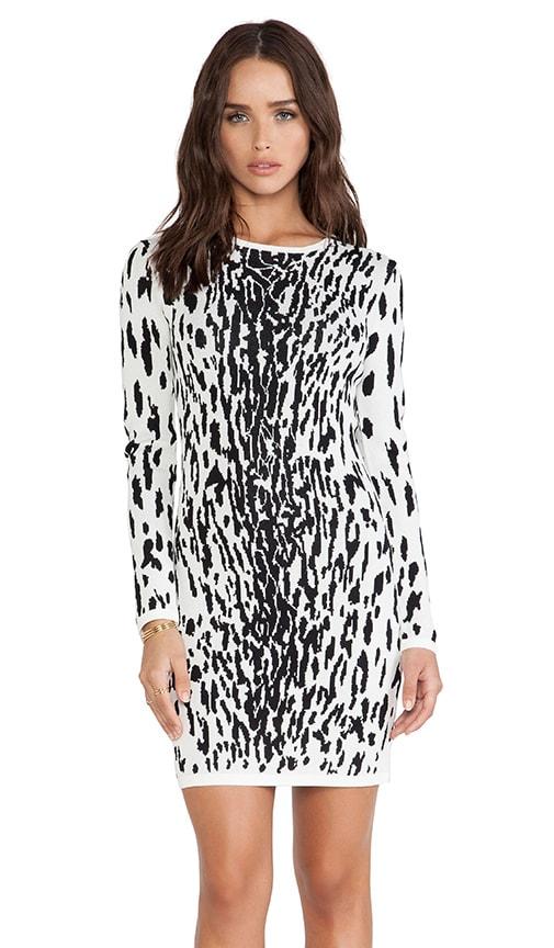 c7e01c61b90 Bardot Snow Leopard Dress in Black   White